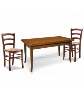 Set Tavolo rettangolare allungabile + Sedie Venezia seduta massello Noce