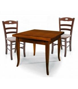 Set Tavolo quadrato allungabile + Sedie Rochelle seduta massello Noce