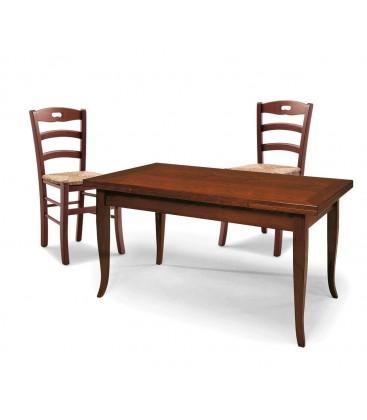 Set Tavolo rettangolare allungabile + Sedie Rochelle seduta paglia Noce