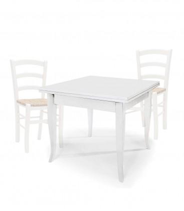 Set Tavolo quadrato allungabile + Sedie Venezia seduta massello Noce