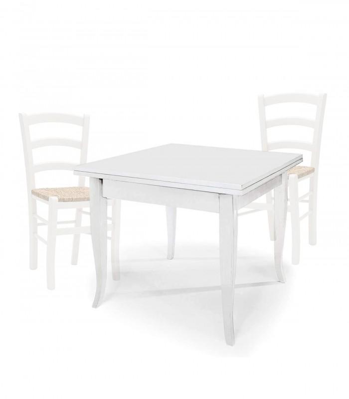 Set Tavolo Quadrato Allungabile Sedie Venezia Seduta Paglia Bianco Spazio Casa
