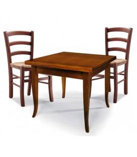 Set Tavolo quadrato allungabile + Sedie Venezia seduta paglia Noce