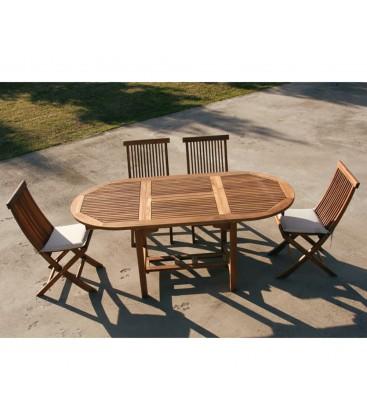 Set da esterno Tavolo + Sedie in legno