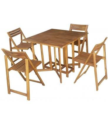 Set da esterno Tavolo + 4 sedie legno acacia