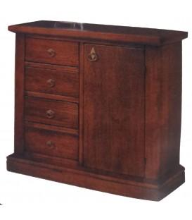 Credenza in legno con zoccolo Noce 4 cassetti + 1 anta