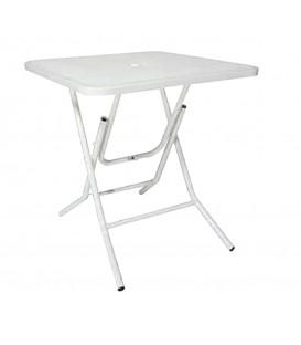 Tavolino Quadrato in Ferro Pieghevole Bianco