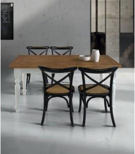 Tavolo Quadrato in Legno Provenzale Struttura Bianco Piano Rovere Piedi Torniti