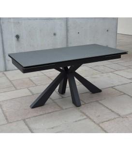 Tavolo Rettangolare Allungabile Piano in Vetro Ceramica e Gambe Incrociate