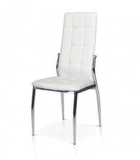 Sedia moderna in Ecopelle struttura in Acciaio Cromato con Impunture