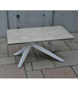 Tavolo Rettangolare Gambe a Piramide e Piano in Vetro Ceramica finitura Beton