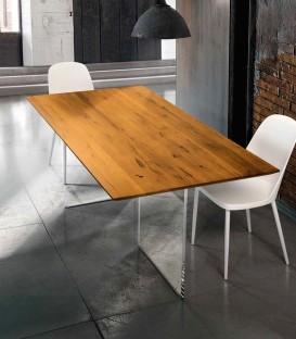 Tavolo fisso piano in legno massello rovere nodato con base in vetro