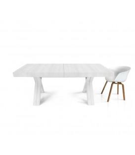 Tavolo rettangolare allungabile con gambe incrociate ad X Bianco Consumato