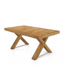 Tavolo rettangolare allungabile con gambe incrociate ad X Rovere Nodato