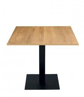 Tavolo da Ristorante Base Quadrata in Ferro Piano Rovere Nodato