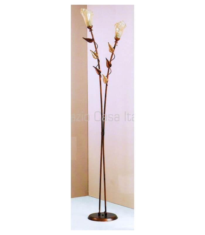 Lampada da terra 2 luci con foglie in ferro battuto for Specchio da terra ferro battuto