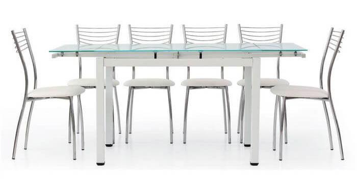 Tavolo vetro allungabile bianco