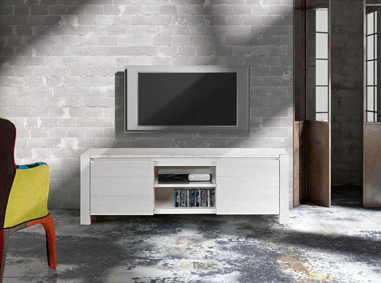 Porta tv abete bianco spazzolato