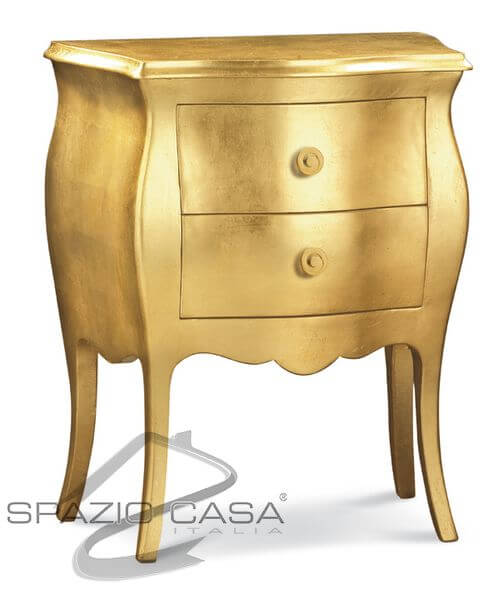 Comodino bombato foglia oro