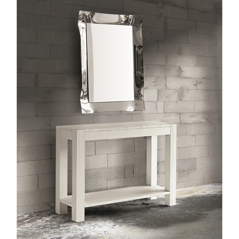 Consolle abete bianco spazzolato & Specchiera moderna