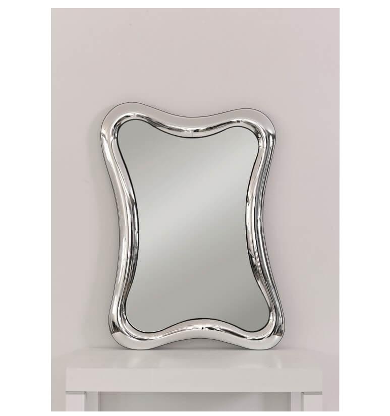 Specchio con cornice ondulata in vetro - Specchio argento moderno ...