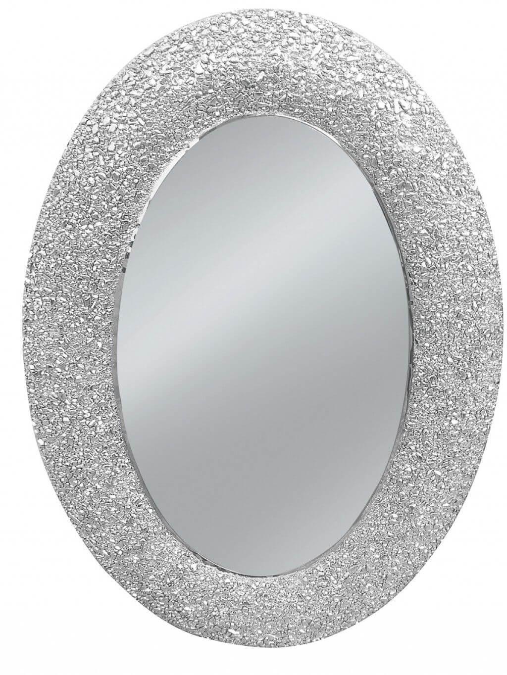specchio ovale effetto glitter