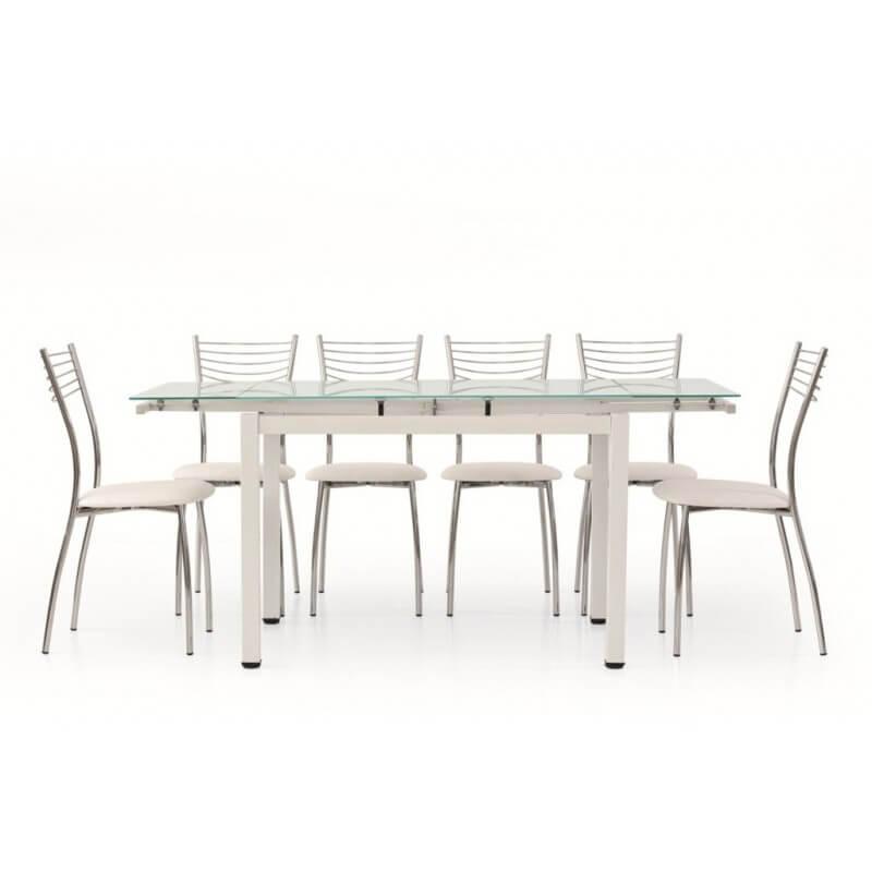 Tavolo con piano in vetro e sedie in ecopelle e acciaio cromato