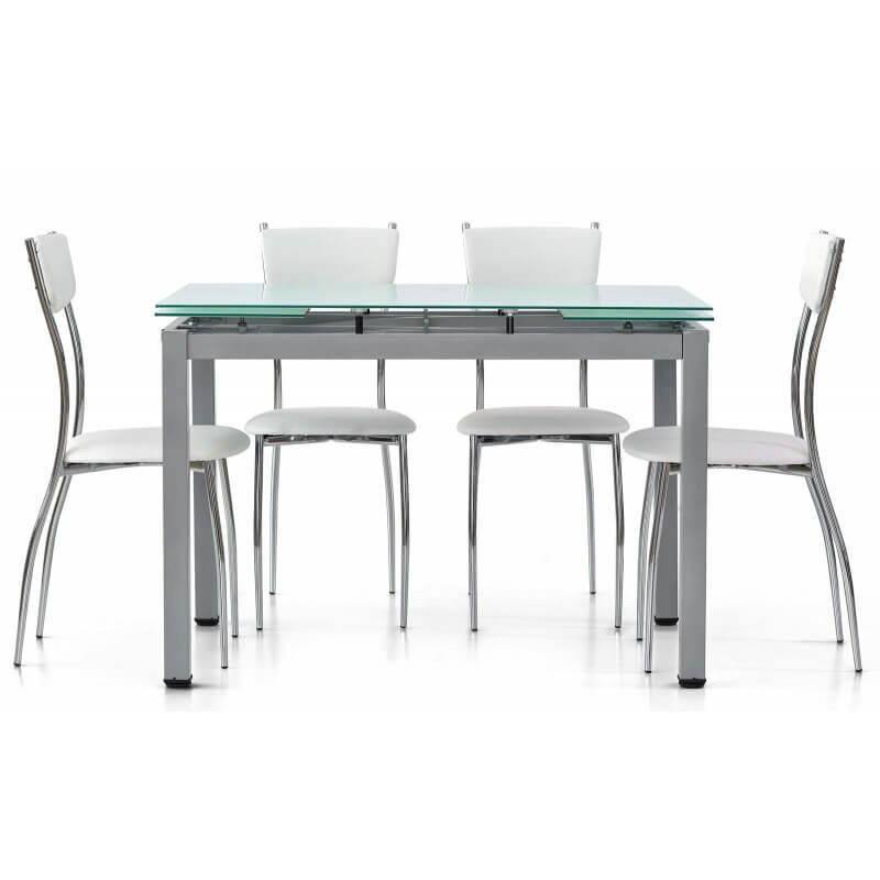 Sedie ecopelle e tavolo moderno con vetro