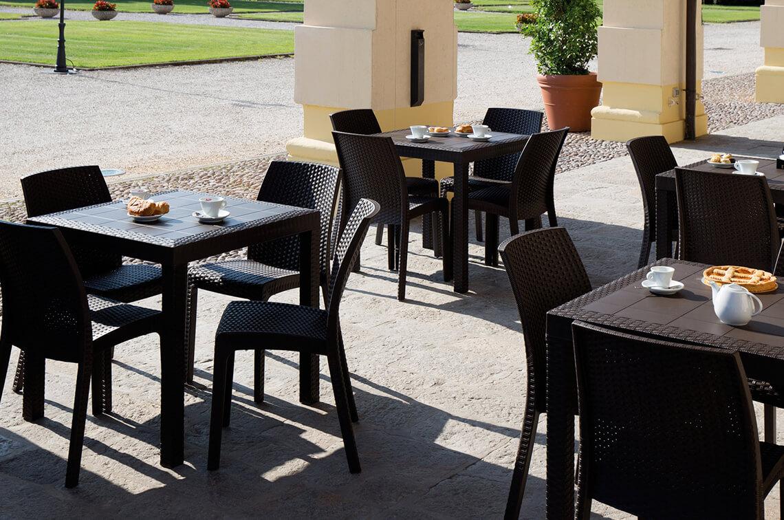 Sedie E Tavoli Da Giardino In Vimini.Tavolo Rettangolare Effetto Rattan Da Esterno In Polipropilene Ebay